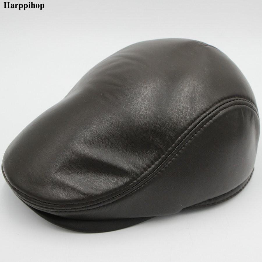 Fashion European Style Genuine Leather Caps Beret Man Casual Sheepskin leather Black/Brown Fitted Duckbill Hats Male Boina