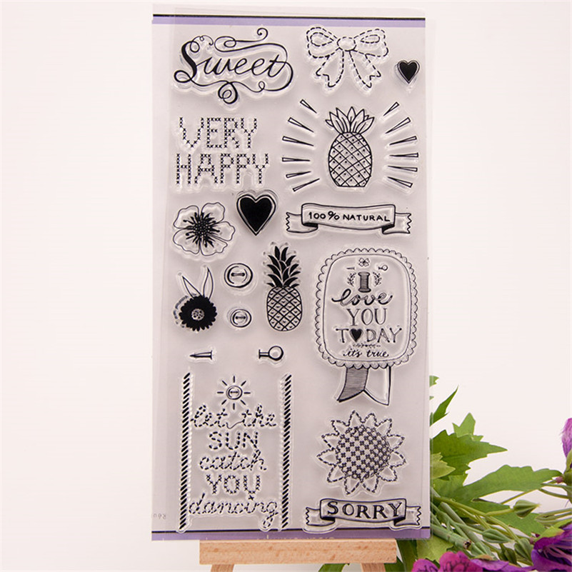 New arrival sweet happy day Silicone Transparent Clear Stamp Seal for DIY scrapbooking photo album stamp craft RM-092 new arrival lovely dog and bear silicone transparent clear stamp seal for diy scrapbooking photo album stamp craft rm 127