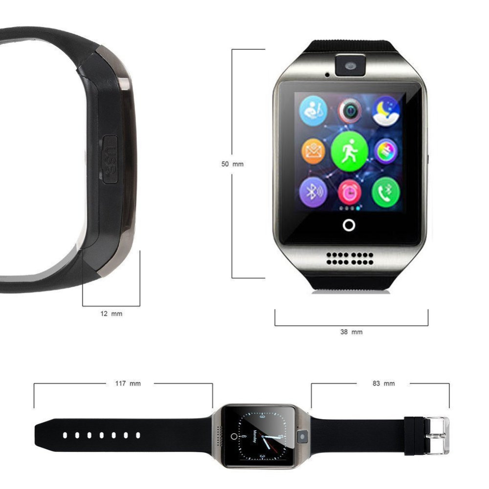 Bluetooth Smart Watch Unlocked Watch Cell Phone SIM 2G GSM with Camera Support Sleep Monitor Push Message VS DZ09 in Smart Watches from Consumer Electronics