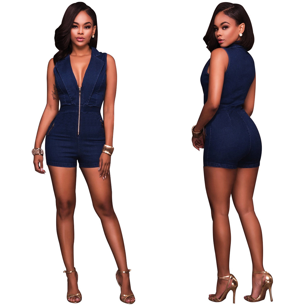 9573ff831504 Misstyle Summer Women Short Pant Sexy Jeans Sleeveless Slim Jumpsuits  Romper Deep V Bodycon Bodysuit Blue Party Denim Jumpsuit-in Rompers from  Women s ...