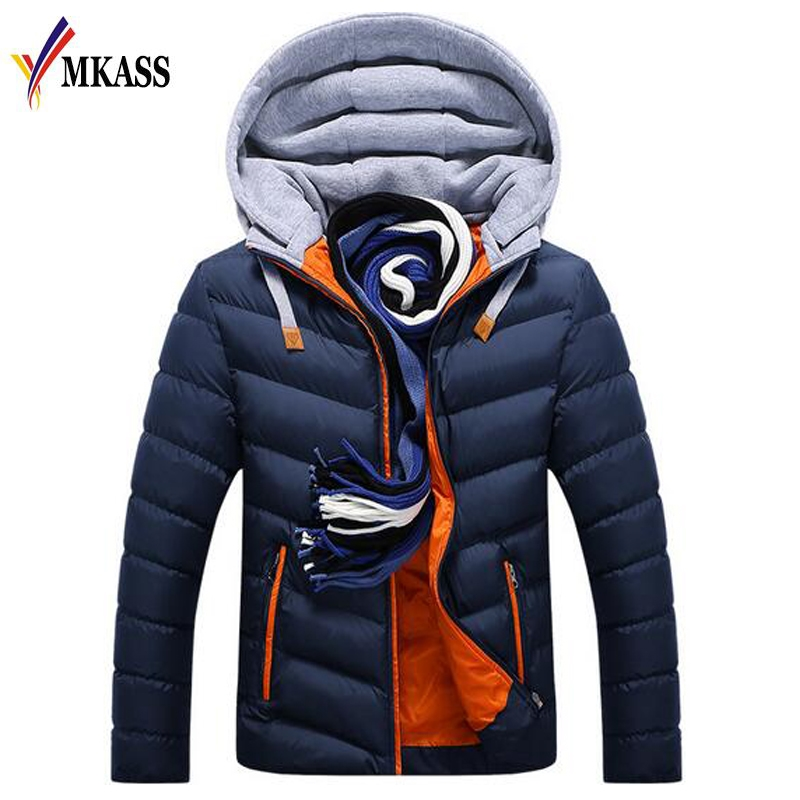2019 New Men Winter Jacket Warm Coat Cotton-Padded Outwear Mens Coats Jackets Hooded Collar Slim Clothes Thick   Parkas   M-4XL