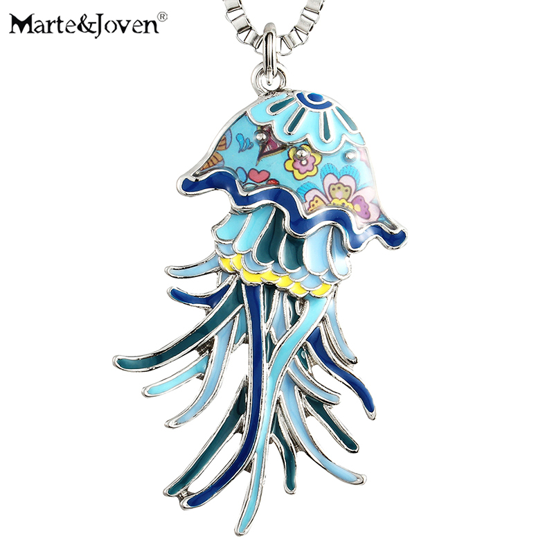 Efficient Marte&joven Cute Jellyfish Pendant Necklace For Women Girls Unique Design Multicolor Enamel Sea Life Collection Gifts Jewelry