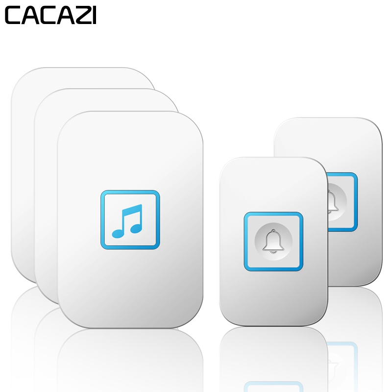 CACAZI Intelligent Wireless Doorbell Waterproof 2 Button 3 Receiver US EU UK AU Plug 300M Remote Home LED Light Battery DoorBellCACAZI Intelligent Wireless Doorbell Waterproof 2 Button 3 Receiver US EU UK AU Plug 300M Remote Home LED Light Battery DoorBell