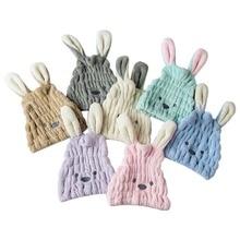 Cartoon Rabbit shape shower cap Coral fleece Hair Turban Quickly Dry Ha