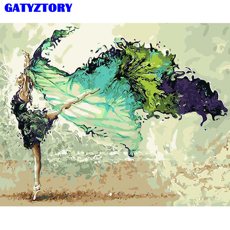 GATYZTORY Dancing Frame Diy Painting By Numbers Kit Modern Wall Art Handpainted Oil Painting Picutre For Home Decor Unique Gift