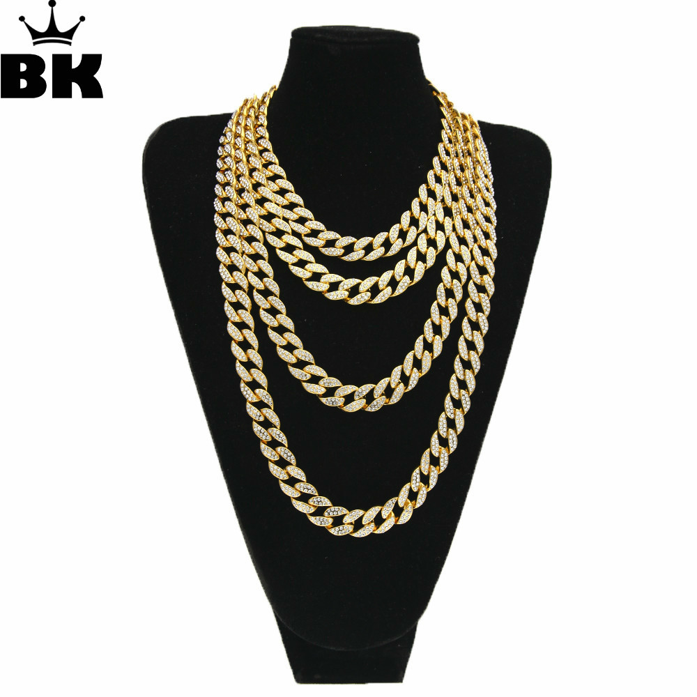 Hip Hop Gold Silver 15mm Choker Cuban Chain Mens 18inch 20inch 24inch 30inch Miami Cuban Link Chain BlingBling Jewelry