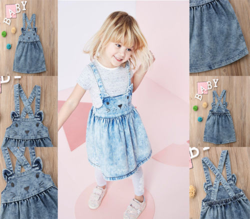 New Kids Girls Jeans Dress Overall Casual Baby Girl Washed Denim Suspender Dress Blue Cute Rabbit Dress Summer Children Clothes Платье
