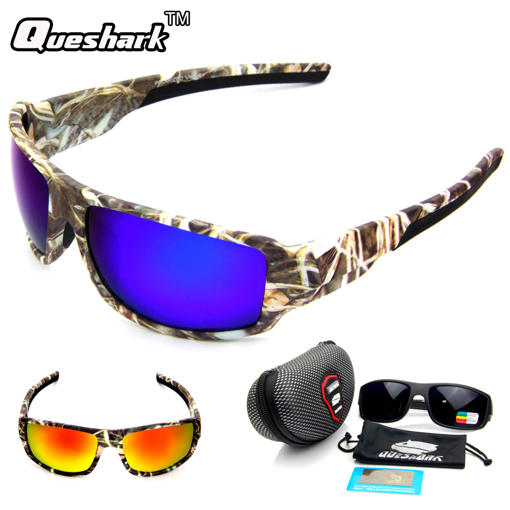 QUESHARK Polarized Camo Fishing Sunglasses Outdoor Camping Sports Cycling Glasses TR90 UV400 Goggles Fishing Eyewear