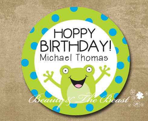 Personalized Frog Birthday Gift Sticker Party Favor Bag Labels Tags Decorations Kids