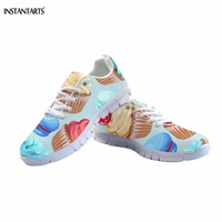 INSTANTARTS Funny Ice cream/ Doughnut Pattern Girls Summer Sneakers Breathable Pink/Blue Mesh Flats Shoes Fashion Lace up Flat