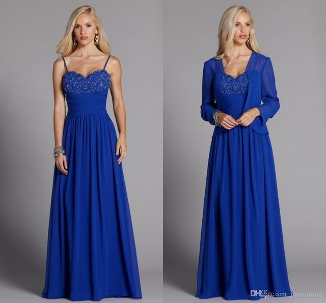 Novo 2016 Azul Royal Plus Size Mãe dos vestidos de Noiva vestidos Até O Chão Frisado Lindo Com Jaqueta de Vestidos de Noite Formais A59