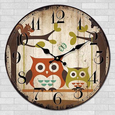 * 2017 Auspicious Wishful Owl Clock Quiet Cartoon Clock Sweep Seconds Movement MDF Material Creative Wall Clock