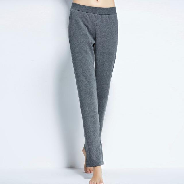 Invierno de las mujeres pantalones de pijama caliente de punto engrosamiento de vellón ropa de ocio pantalón largo pantalones de color sólido en casa