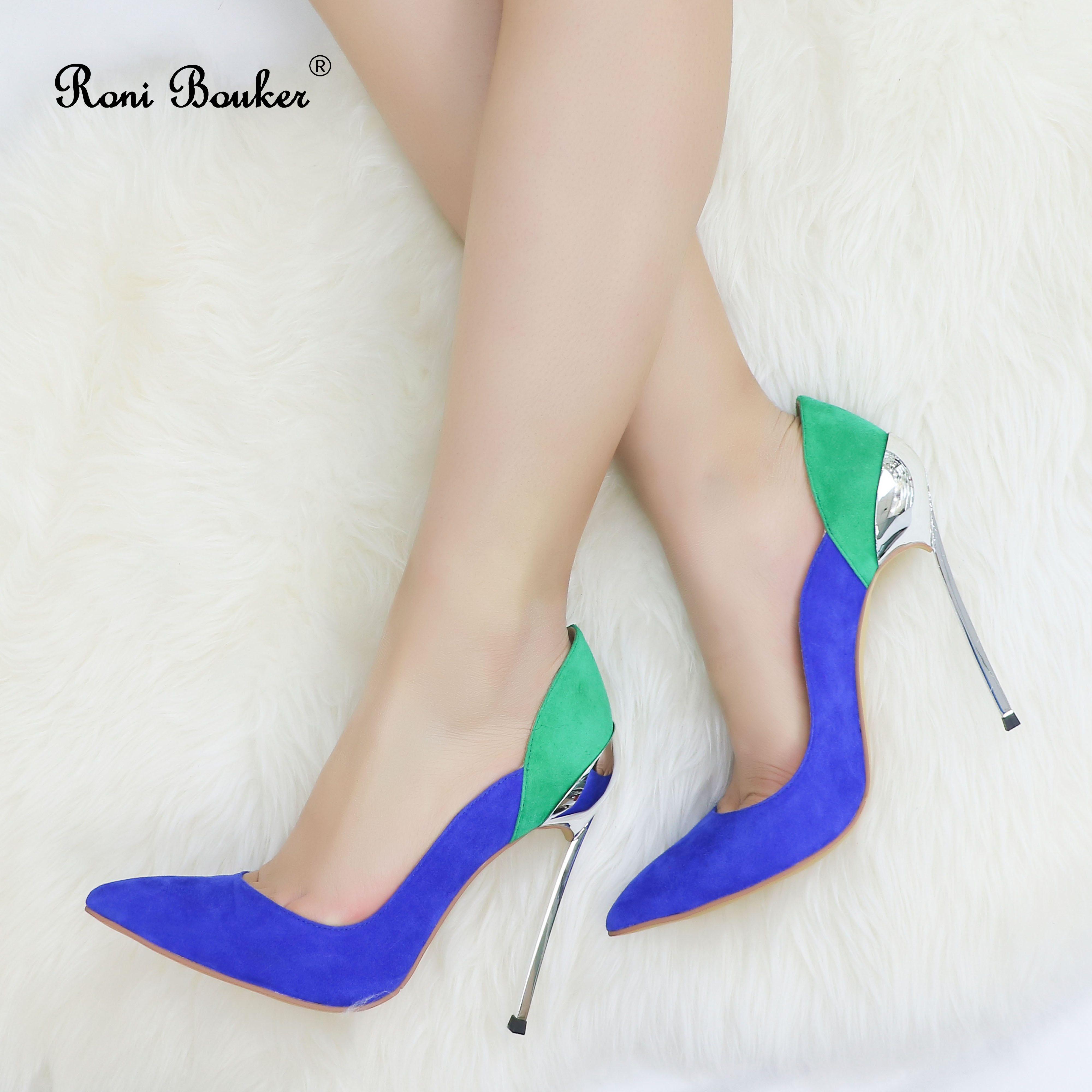 Ayakk.'ten Kadın Pompaları'de Roni Bouker Kadınlar Pembe Mavi Topuklu Doğal Süet Deri Pompaları Düğün Ayakkabı Kadın El Yapımı Yüksek Topuk Boyutu 42 Dropshipping'da  Grup 1
