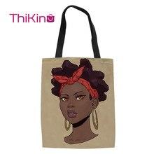 Thikin African Art Girls Shoulder Bag Folding Canvas Storage Shopping Handbags Fashion Portable Casual Tote Bags