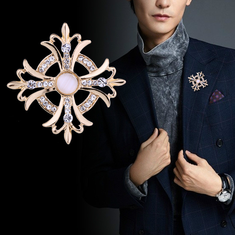 1fbe6cf65f1 Retro Flower Cross Rhinestone Crystal Brooch Lapel Pin Badge Clothing Men's  Suit Accessories Opal Anchor Medal