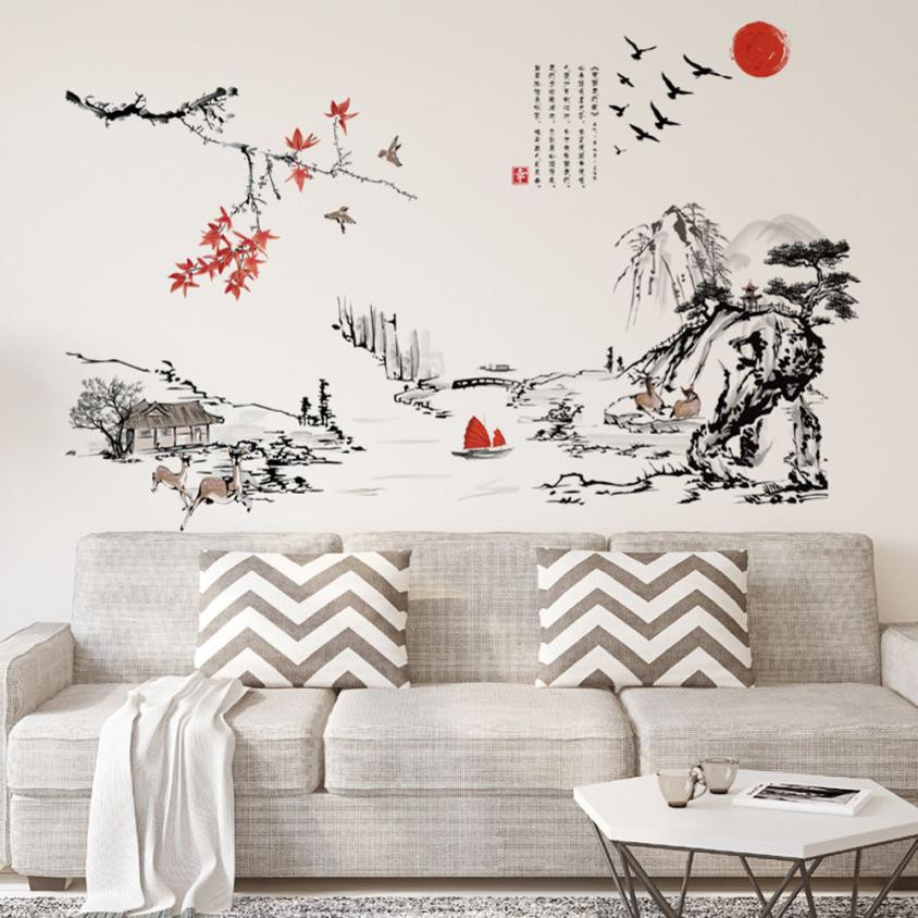 Chinese Character Plum Blossom Flowers Removable Wall Sticker DIY Decals New C