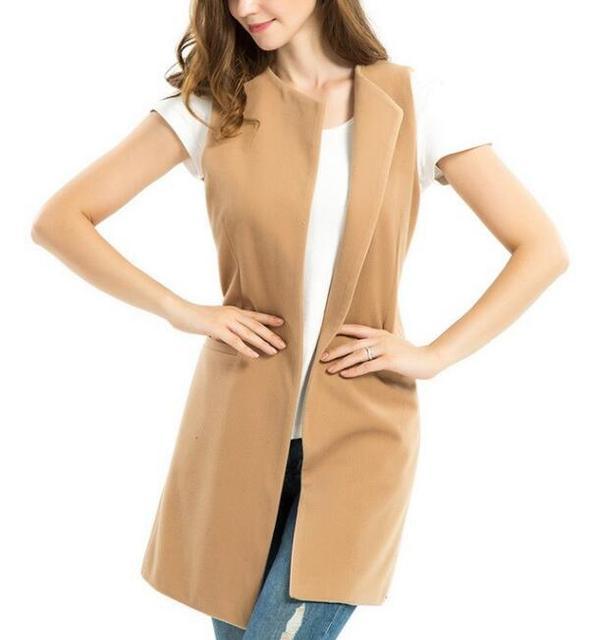 2017 fashion Wool Blend Camel long waistcoat women basic coats plus size Vest Sleeveless Coat