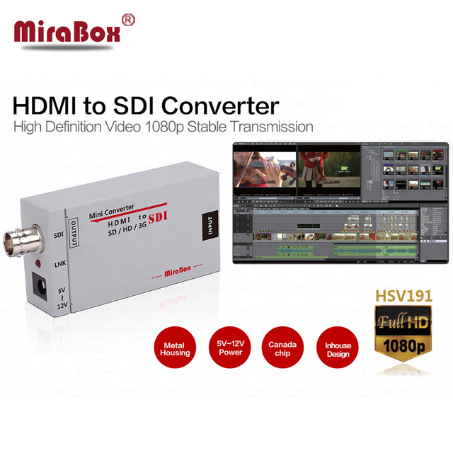 New Price Mini 3g HDMI To SDI Converter Full HD 1080P HDMI to SDI Adapter Video Converter with Power Adapter for Driving HDMI Monitors