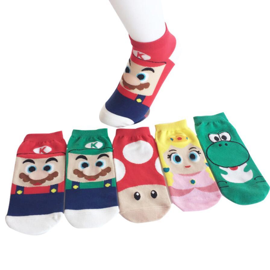 1 Pair Mario Luigi Socks Cartoon Totoro Boat Socks Superman Captain Arrowman Bruce Lee Character Pattern Spring Summer Socking