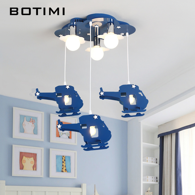 Botimi Kids Pendant Lights With Blue Plane 220v Led Cartoon Hanging Lamp Boys Bedroom Lighting Children Room Lamps