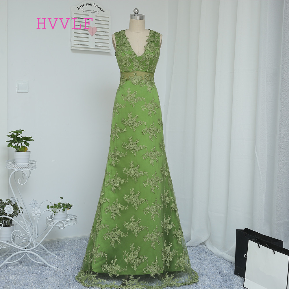 New Green 2019 Prom Dresses A-line V-neck Appliques Lace Backless Elegant Long Prom Gown Evening Dresses Evening Gown