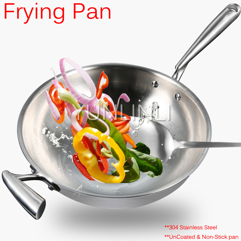 32cm Frying Pan Uncoated & Non-Stick Pan Household Cookware Cooking Pans 304 Stainless steel Frying Pan For Food Frying y71 free shipping fy 300 all with stainless steel beefsteak cooking tool teppanyaki machine food frying pan