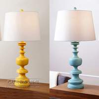 Simple Study Table Lights Creative Family Children Bedroom Bedside Living Room Decoration Blue Yellow Resin Cloth