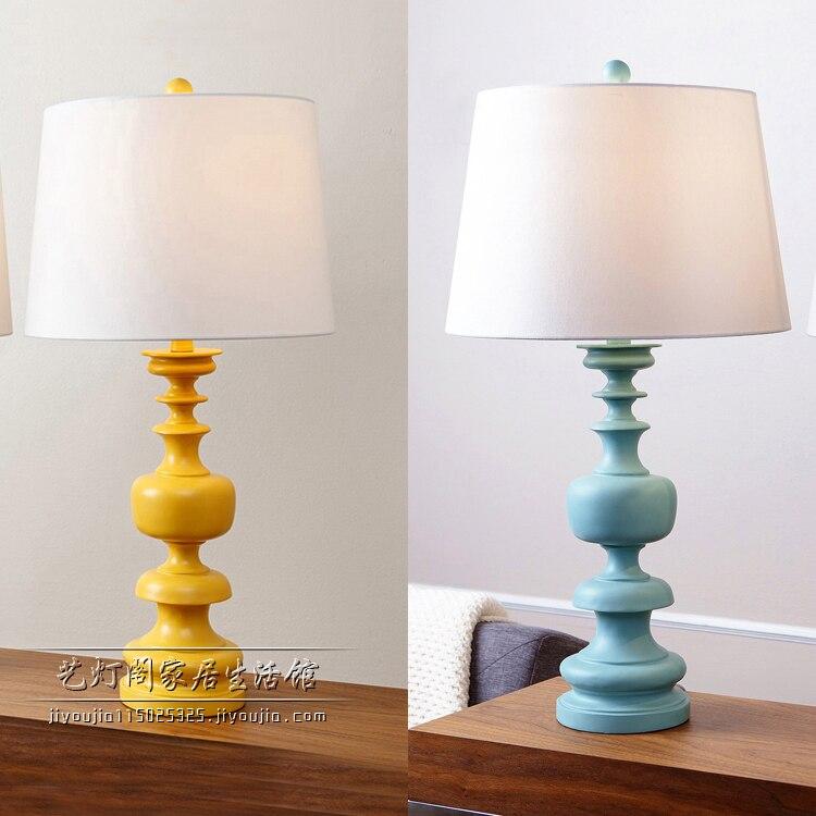 Lampe de bureau d'étude Simple creative famille chambre d'enfant chevet salon décoration bleu/jaune résine + tissu ZA