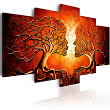 5 panel Red Color Tree Branches Painting Canvas Art Abstract Picture canvas Print Wall Pictures for Living Room Modern