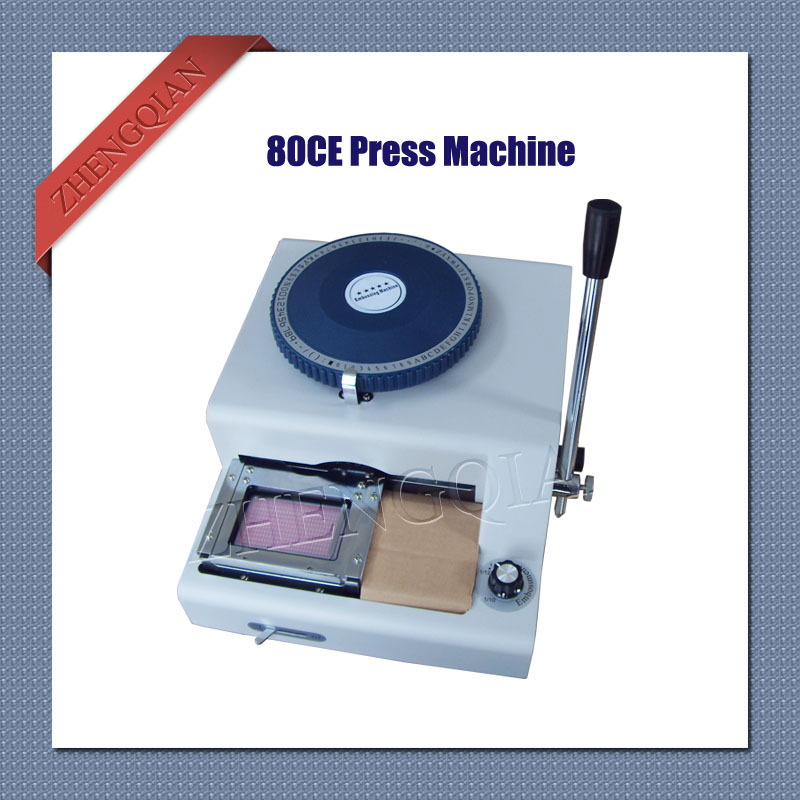 Manual 80 character letterpress id pvc card  embosser press machine convex and concave integrate