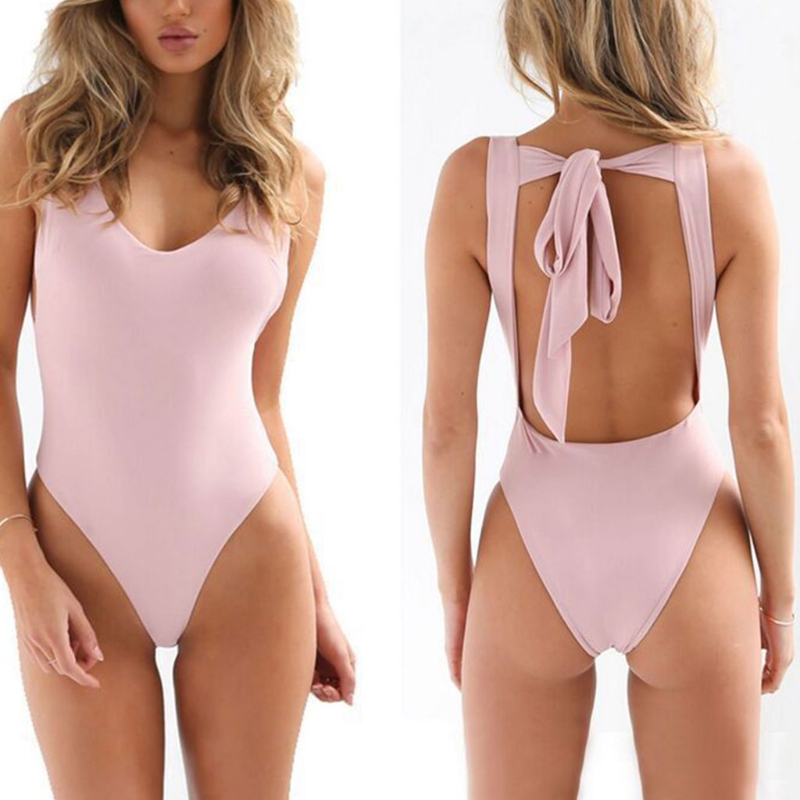 Women Solid Color One-piece Swimsuit V Neck Backless Bandage Tie Knot Swimwear trendy halter solid color one piece swimwear for women