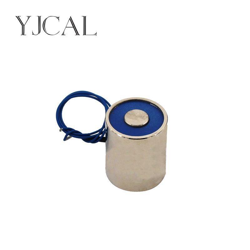 YJ- 20/25 DC 12V 24V Circular Micro Holding Electric Magnet Lifting 3KG Solenoid Sucker Electromagnet dc 24v 1 2a 18mm 0 3kg pull electric solenoid electromagnet coil