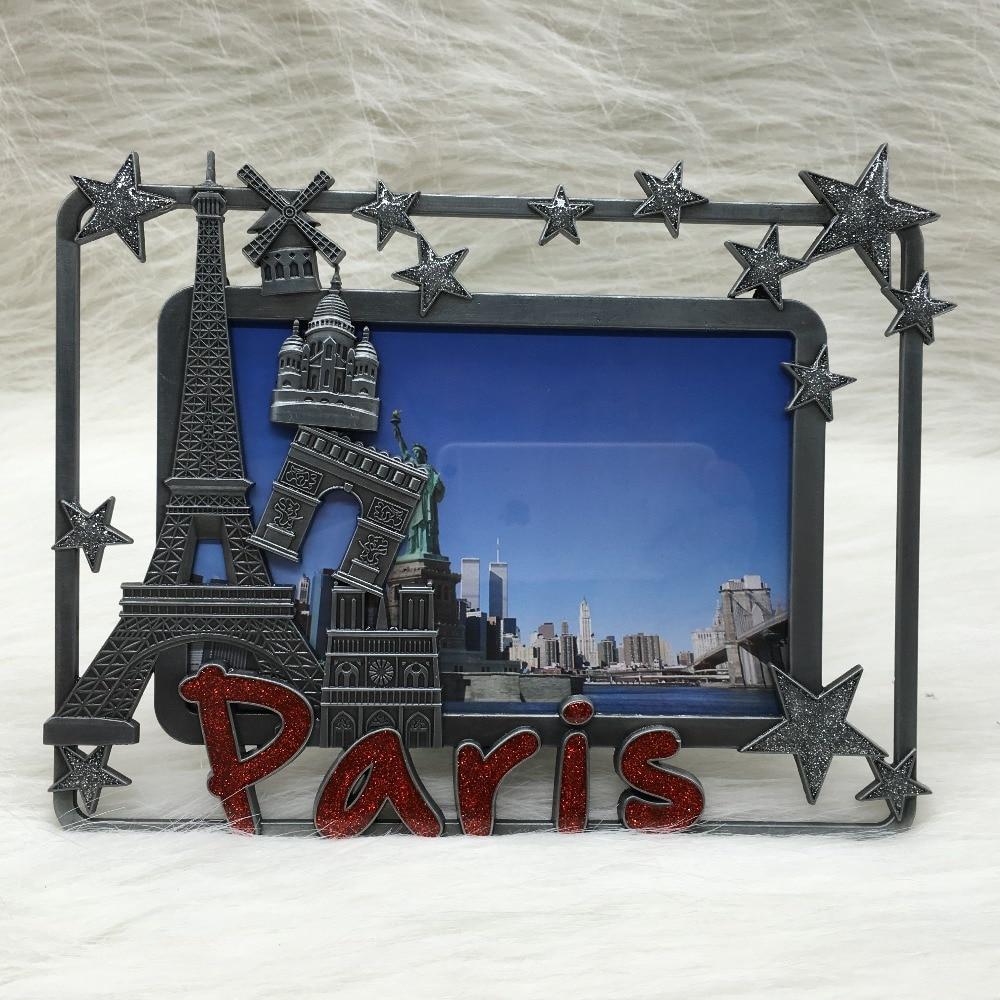Home Decoration Metal Crafts Antique Tin Paris Photo Frame