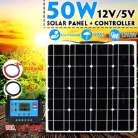 Boguang 50 Watt 12V Flexible Solar Panel Portable Charger System Kits 10A Controller USB for Home Fishing Boat Camping Hiking