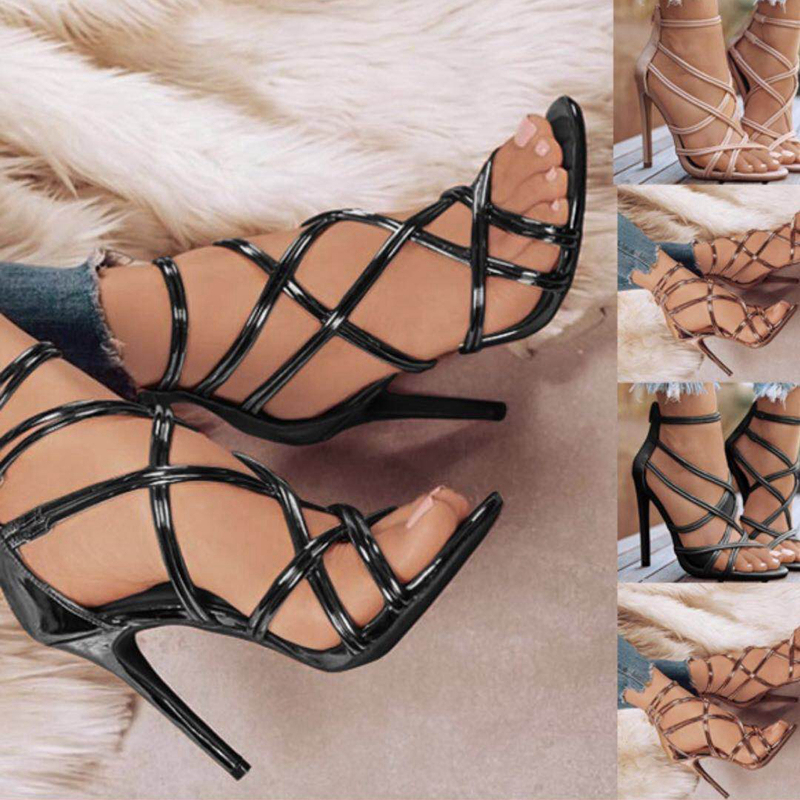 Fashion High Heels Women Pumps Gladiator Sexy Stiletto Summer Shoes Women Classic Pumps Wedding Shoes Pointed Toe Plus Size 43