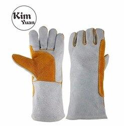 KIM YUAN 5Pair rękawice spawalnicze odporne na ciepło dla spawacz/gotowanie/pieczenie/kominek/grill biały i żółty 14 cali darmowa wysyłka