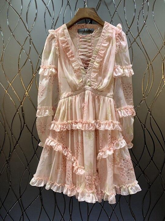 Femme Rose Robe 0316 Coutures Auricularia Et Nouvelle Irrégulière col Avec Feuille Lotus V 2019 D'été Bord Printemps pgBqxawIp
