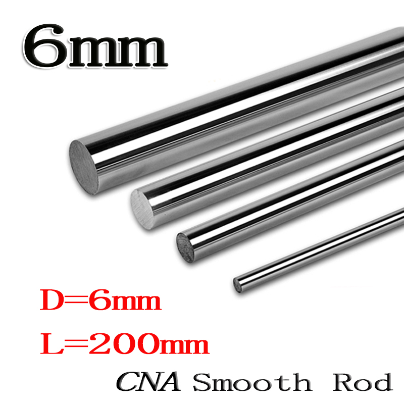 2pcs/lot linear shaft 6mm 200mm rod shaft WCS 6mm linear shaft L200mm chrome plated linear motion guide rail round rod cnc parts 2pcs lot sk35 35mm linear rail shaft guide support cnc brand new