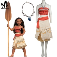 Polynesia Princess Moana Cosplay Costume Carnival Christmas Costumes Movie Moana Dress With Free Necklace Custom Made