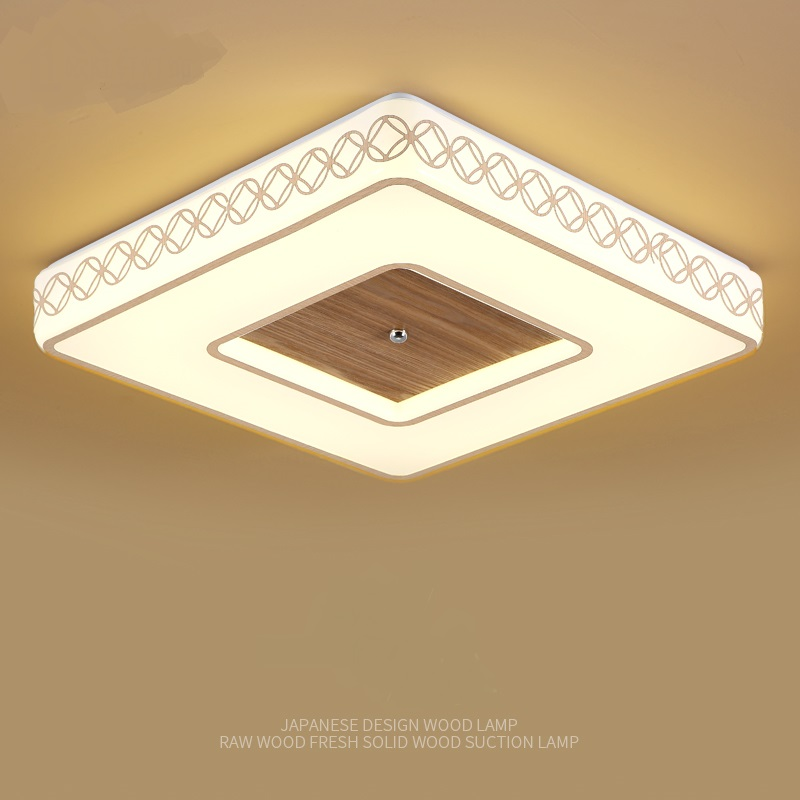 Nordic square solid wood led ceiling lamp small bedroom lamp study kitchen and toilet wooden ceiling light ZA928007