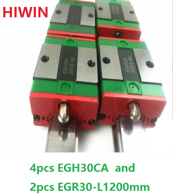 2pcs 100% original HIWIN linear guide rail EGR30 -L 1200mm + 4pcs EGH30CA linear block for CNC router
