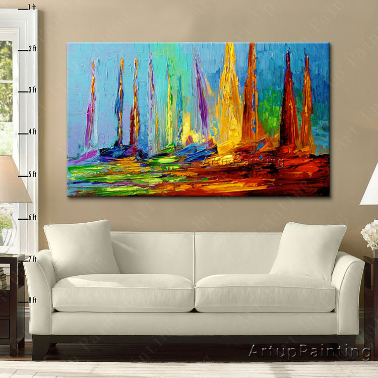 Canvas oil paintings hand painted abstract huge modern yacht oil painting boat ship sailing wall - Wall paintings for living room ...