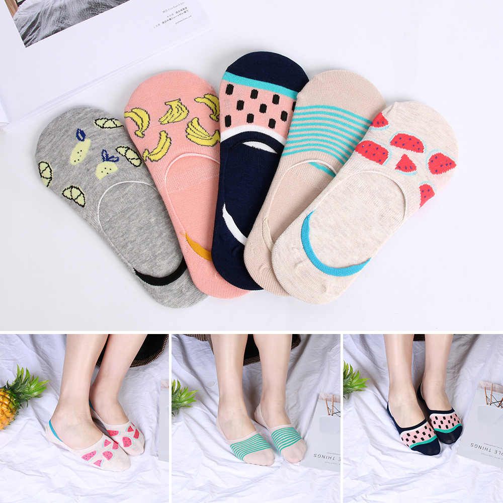 1 Pair Invisible Short Socks Women's Socks Sweet Casual Breathable Cotton Socks Anti-skidding Girl Boat Socks Ankle Low Female