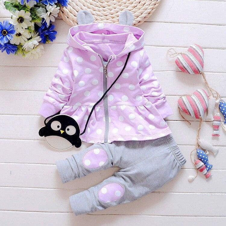 Kids Spring Baby Girls Clothing Set Polka Dot Clothing Set Baby Girls Cotton Clothes Suit Children Cartoon 2Pcs Baby Outfit Suit