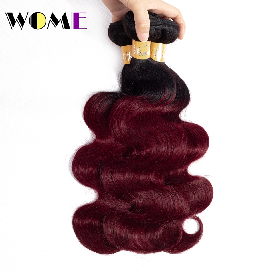 Bundles Hair Brizilian-Hair Body-Wave Burgundy Black Ombre Pre-Colored 1b 99j