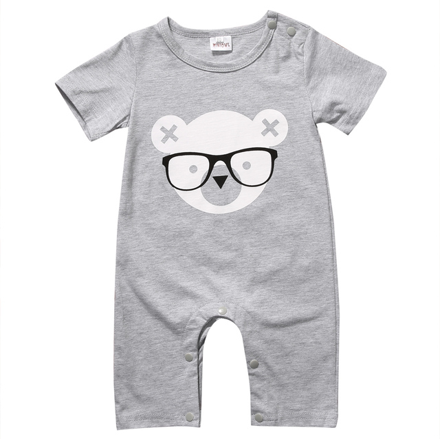 2017 Newborn Infant Baby Boy Girl Kids Bear Romper Jumpsuit Cotton O-neck Gray Bear Clothes Outfits Size 0-2Y