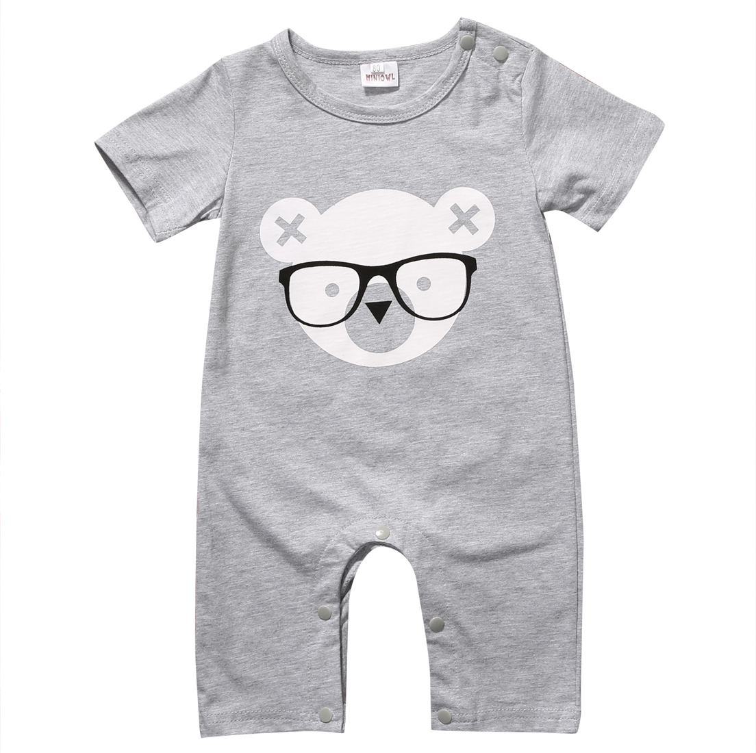 Newborn Infant Baby Boy Girl Kids Bear Romper Jumpsuit Cotton O-neck Gray Bear Clothes Outfits Size 0-2Y