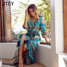 JTCY 8 Colors Split Print Bohemian Sexy Beach Dress 2019 Fashion Women Summer Sundress V-Neck Plus Size Party Dresses