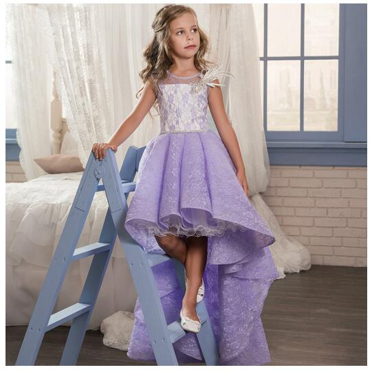 Girl's Formal Dress 2017 Girls Princess Dresses Floor Length Kids Lace Gauze Party Fishtail Gowns Children's Wedding Dresses floor length plus size lace formal dress